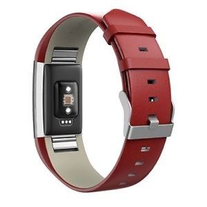 Accessories - For Fitbit Charge 2 Retro Red Genuine Leather Band
